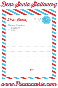 Pizzazzerie Free Dear Santa Stationery