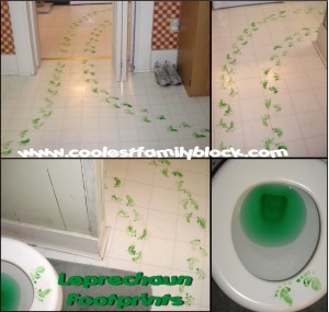 Leprechaun footprints and green toilet water