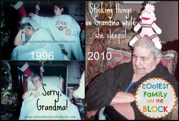 Sticking things on grandma while she sleeps