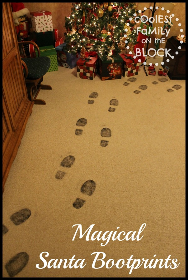 Santa leaves his sooty bootprints on Christmas morning!
