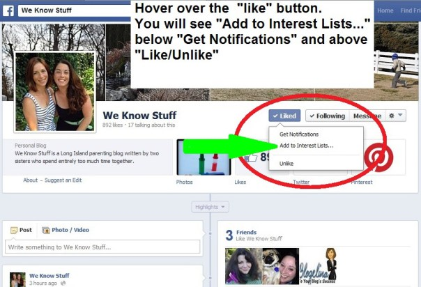 Adding Facebook pages to lists