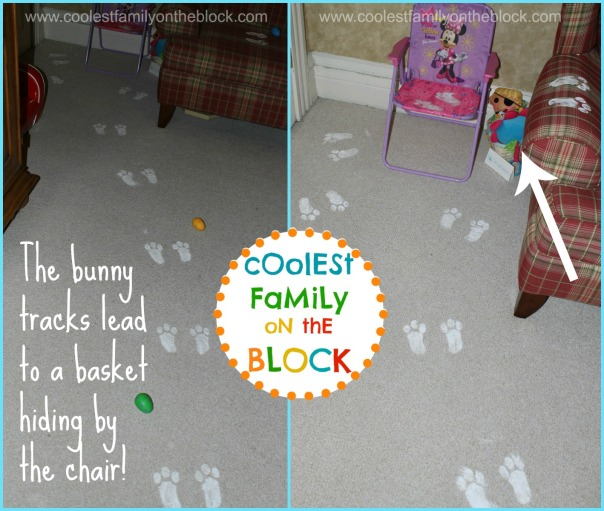 Easter bunny paw prints trail