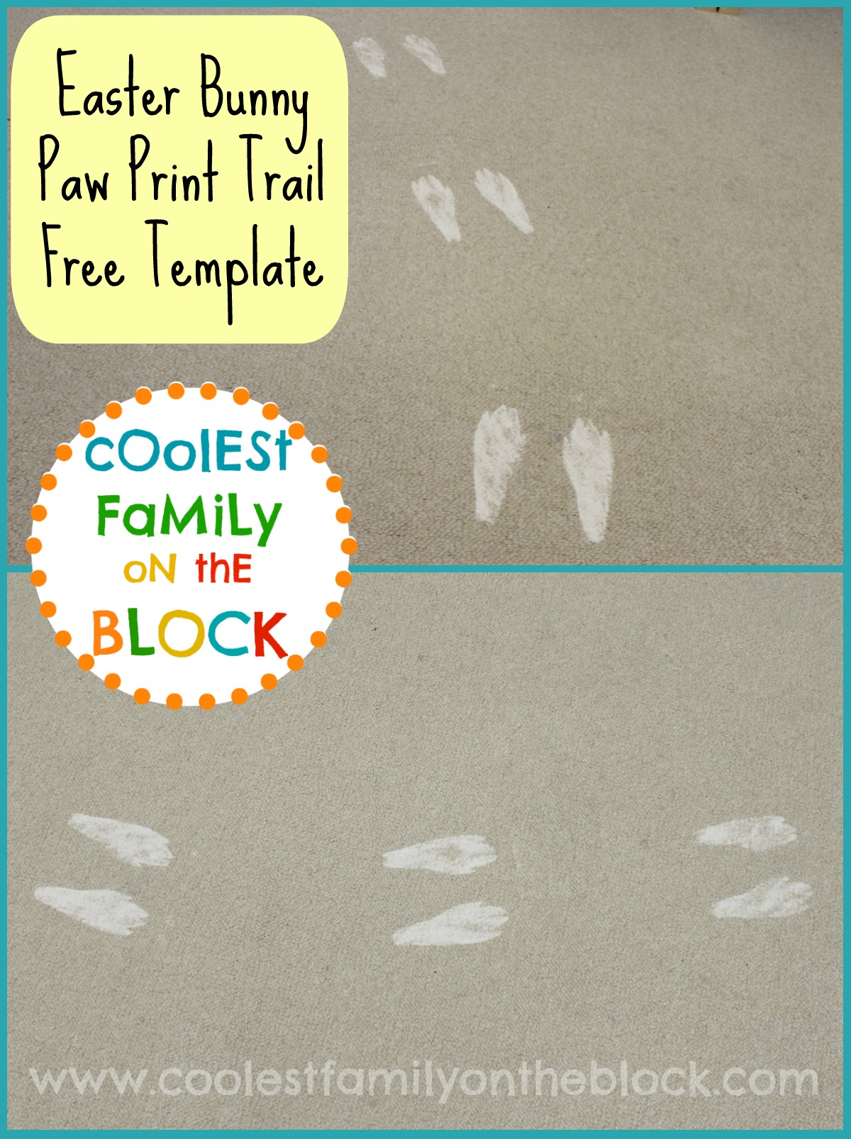 Easter Bunny Footprints Printable Diy easter bunny paw prints
