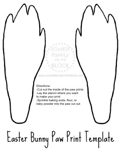 Free Printable Easter Bunny Paw Print Template: Real paw prints