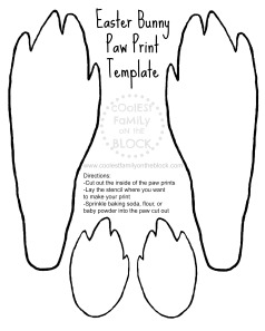 Free Printable Easter Bunny Paw Print Template: Front and Back Paws